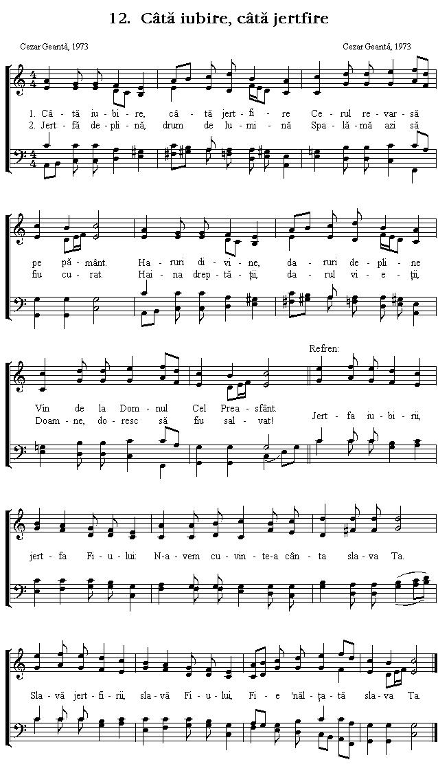Partitura Imnul No 12. Câtă iubire, câtă jertfire
