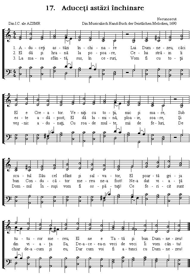 Partitura Imnul No 17. Aduceți astăzi închinare