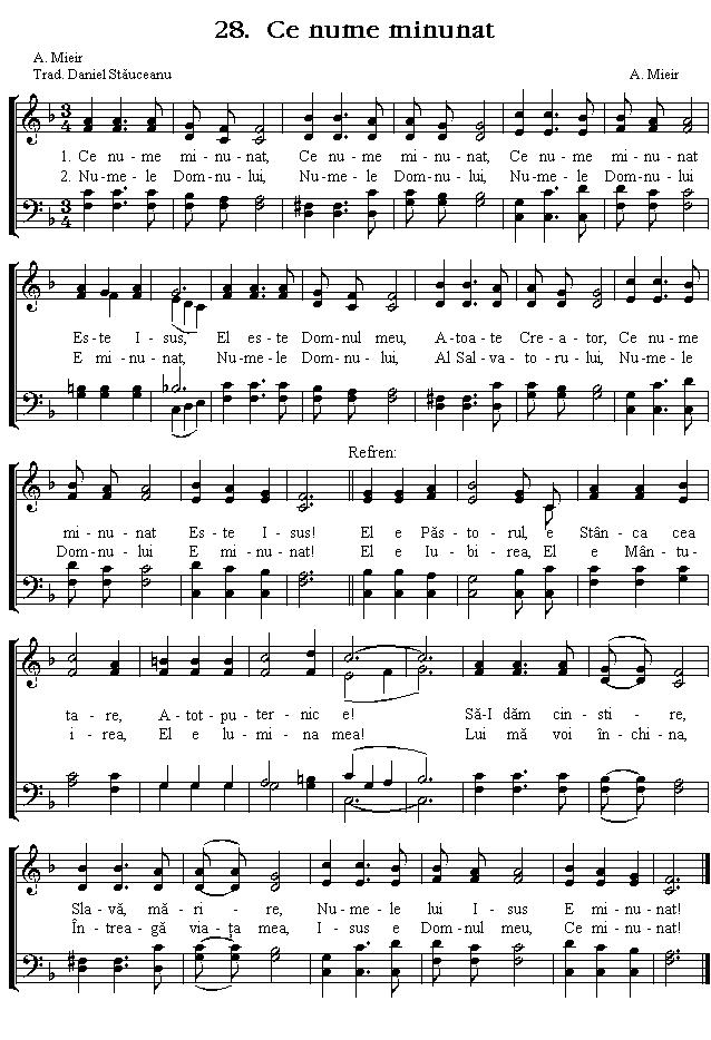 Partitura Imnul No 28. Ce nume minunat