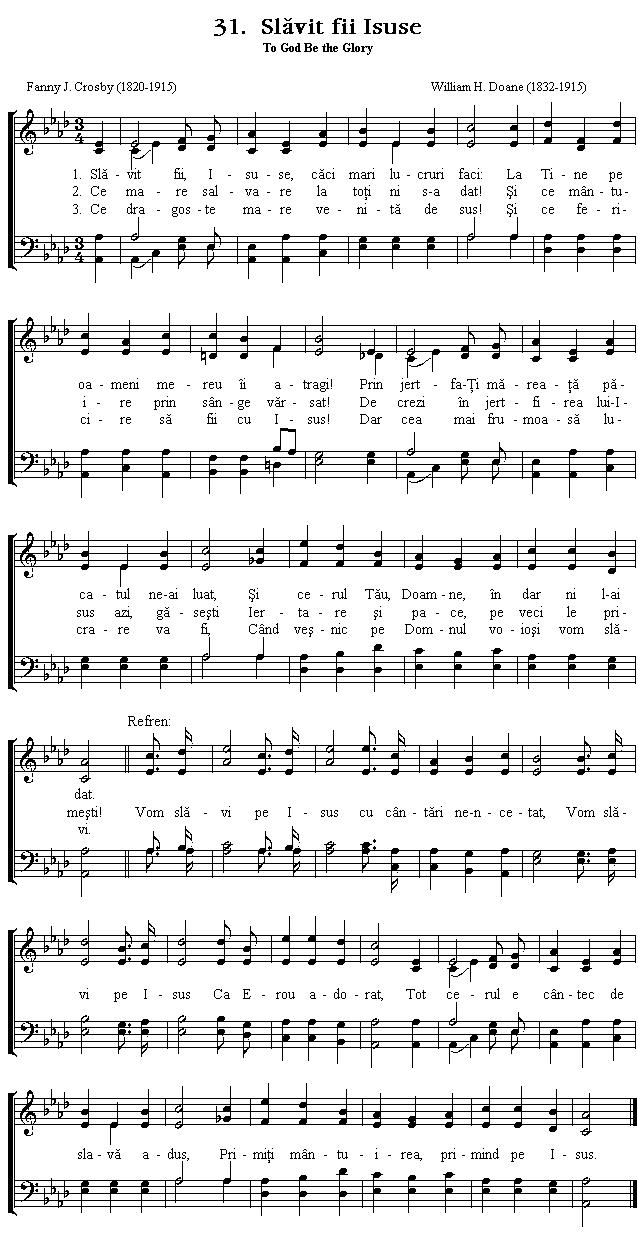Partitura Imnul No 31. Slăvit fii Isuse
