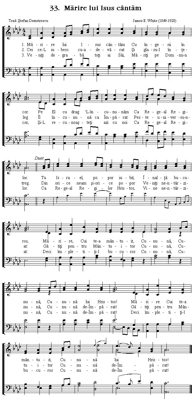 Partitura Imnul No 33. Mărire lui Isus cântăm