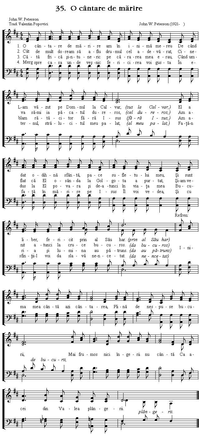 Partitura Imnul No 35. O cântare de mărire