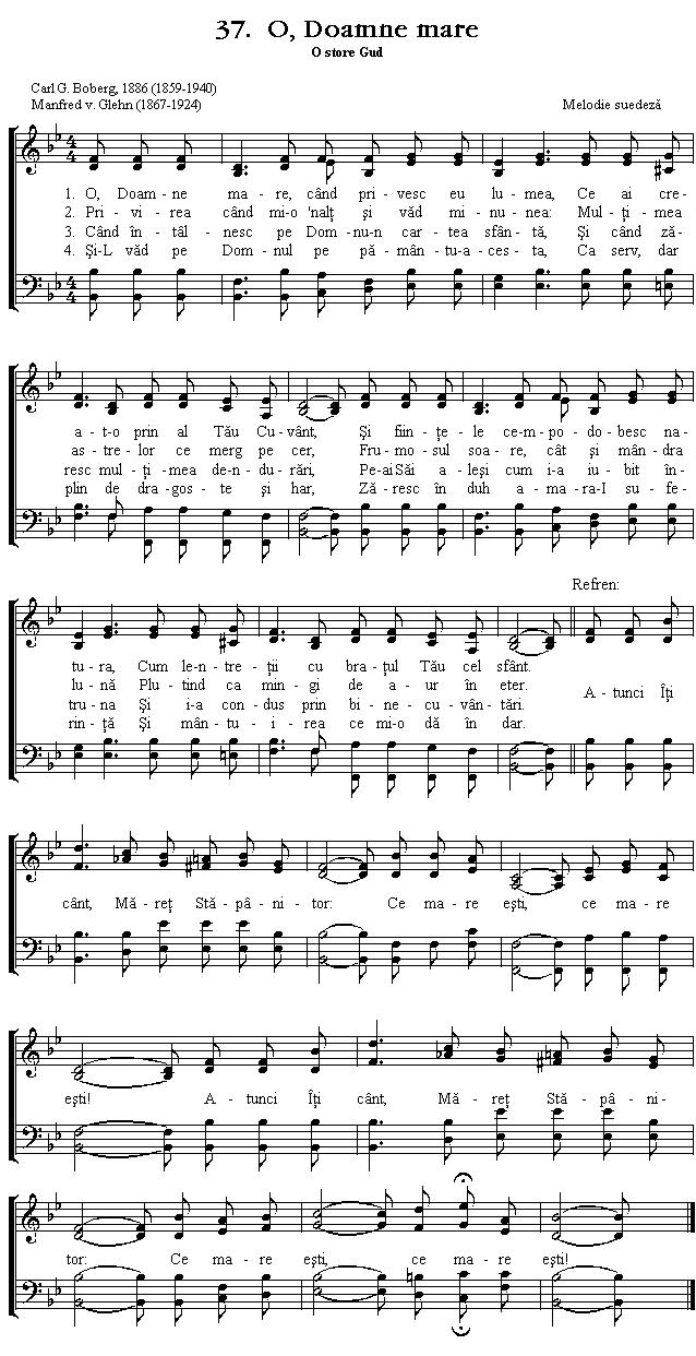Partitura Imnul No 37. O, Doamne mare