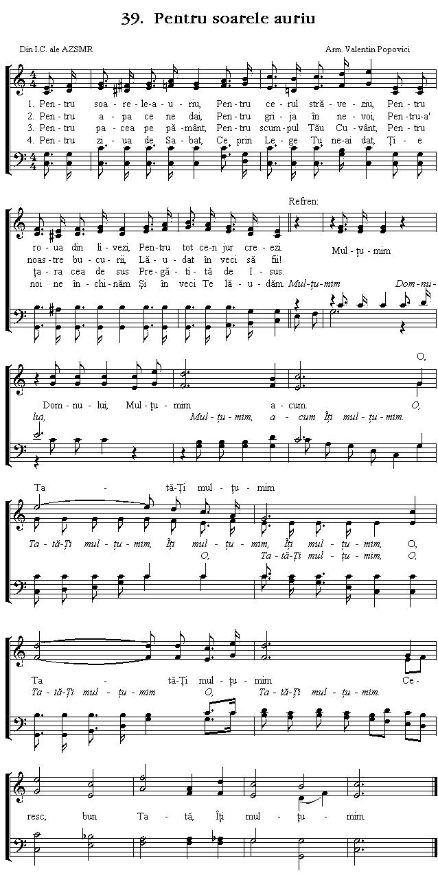Partitura Imnul No 39. Pentru soarele auriu