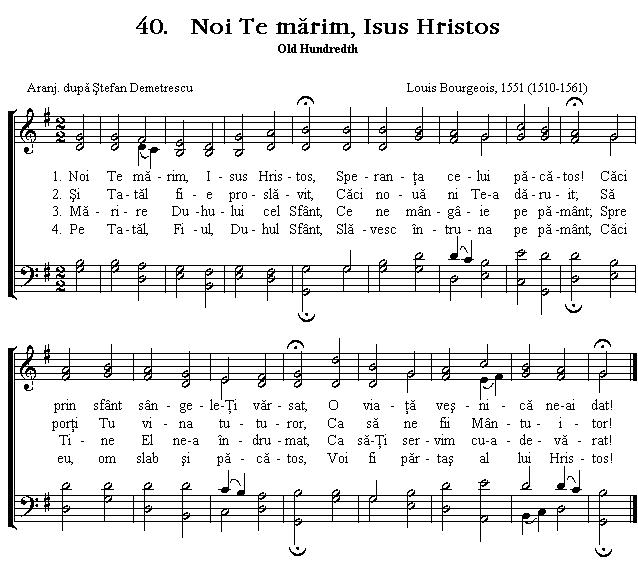Partitura Imnul No 40. Noi Te mărim, Isus Hristos