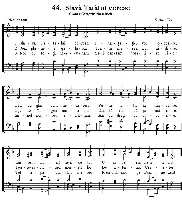 Partitura Imnul No 44. Slavă Tatălui ceresc