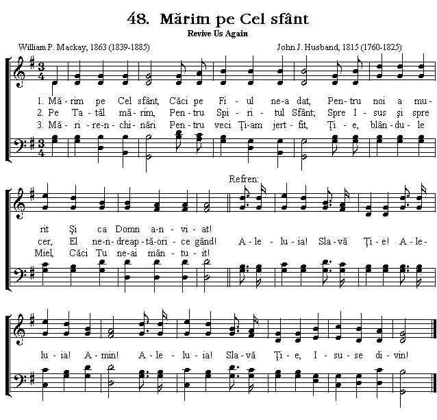 Partitura Imnul No 48. Mărim pe Cel sfânt