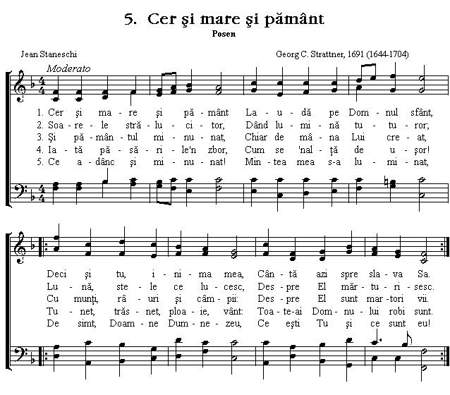 Partitura Imnul No 5. Cer și mare și pământ